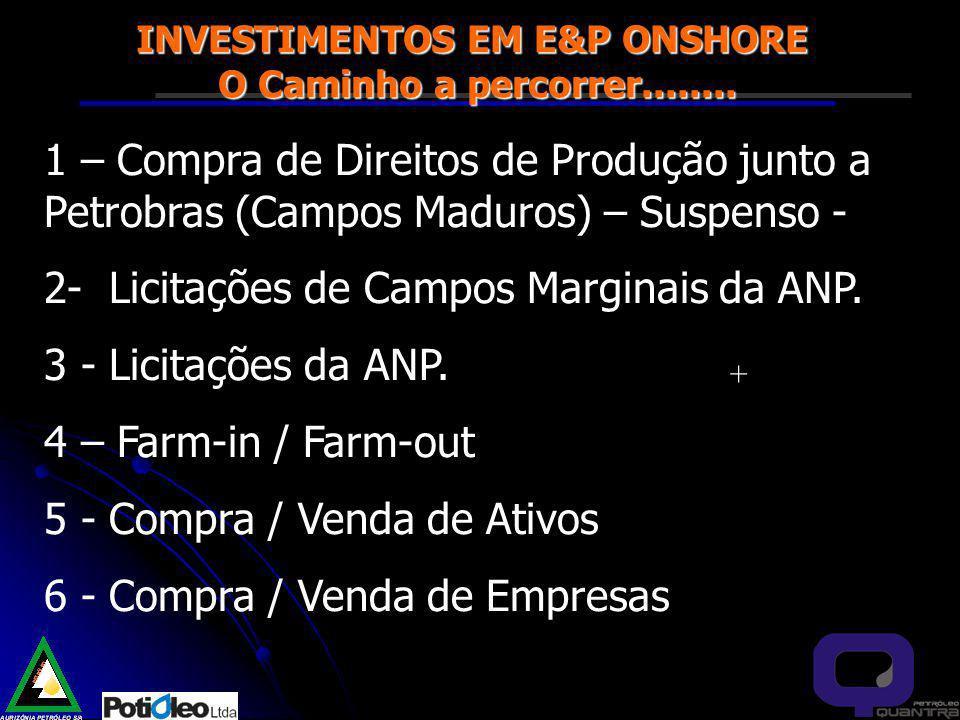 INVESTIMENTOS EM E&P ONSHORE O Caminho a percorrer........