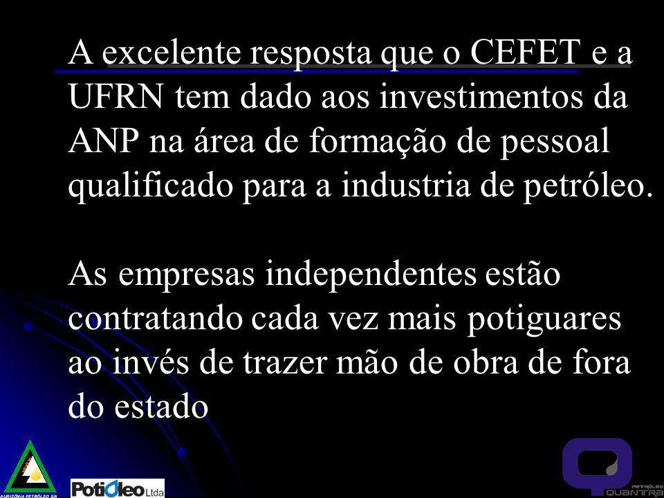 A excelente resposta que o CEFET e a UFRN tem dado aos investimentos da ANP na área de formação de pessoal qualificado para a industria de petróleo.