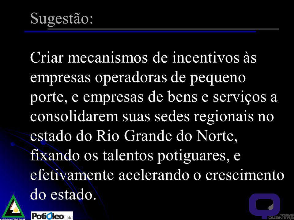 Sugestão: Criar mecanismos de incentivos às empresas operadoras de pequeno porte, e empresas de bens e serviços a consolidarem suas sedes regionais no estado do Rio Grande do Norte, fixando os talentos potiguares, e efetivamente acelerando o crescimento do estado.