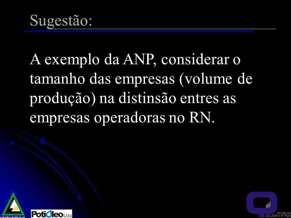 Sugestão: A exemplo da ANP, considerar o tamanho das empresas (volume de produção) na distinsão entres as empresas operadoras no RN.