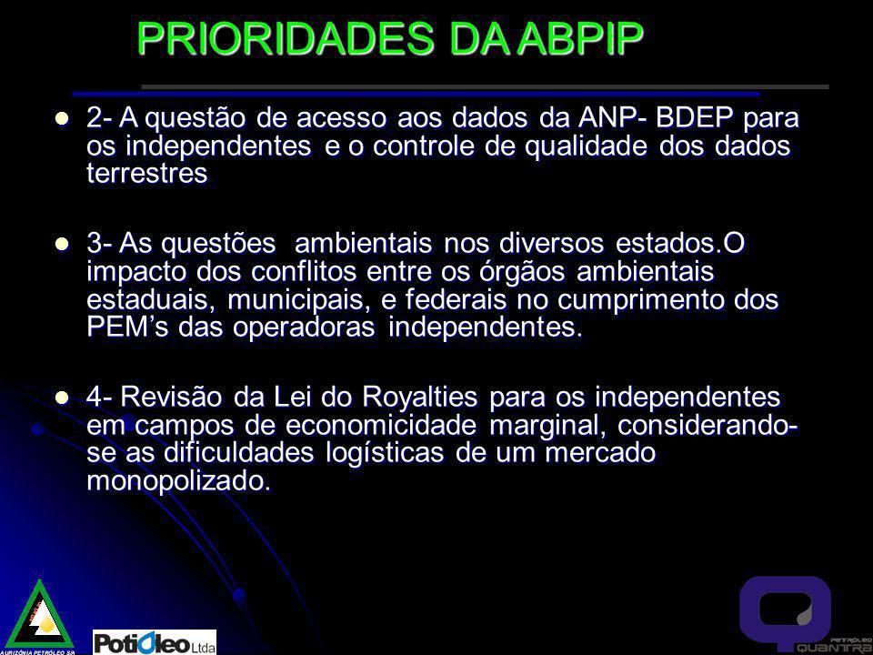 PRIORIDADES DA ABPIP 2- A questão de acesso aos dados da ANP- BDEP para os independentes e o controle de qualidade dos dados terrestres.