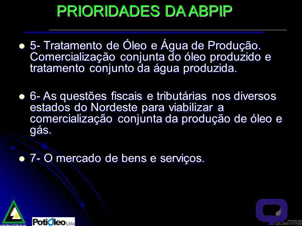 PRIORIDADES DA ABPIP 5- Tratamento de Óleo e Água de Produção. Comercialização conjunta do óleo produzido e tratamento conjunto da água produzida.