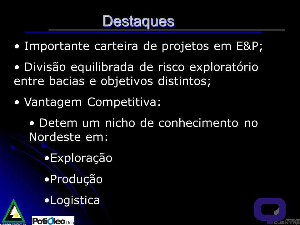 Destaques Importante carteira de projetos em E&P;