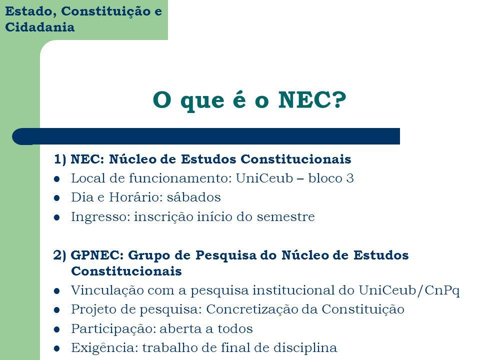 O que é o NEC 1) NEC: Núcleo de Estudos Constitucionais
