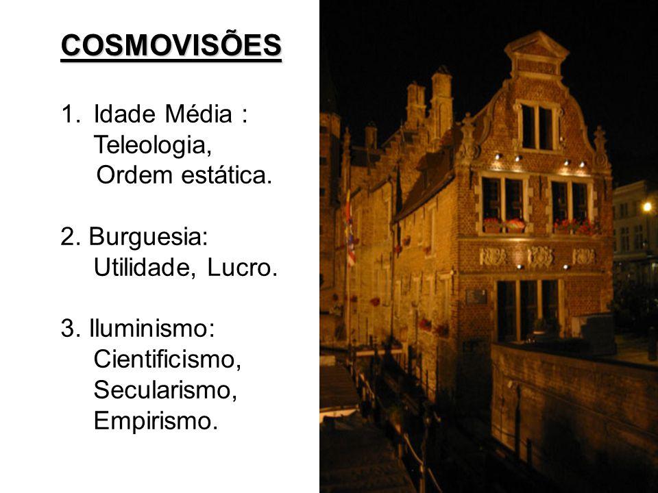 COSMOVISÕES Idade Média : Teleologia, Ordem estática.
