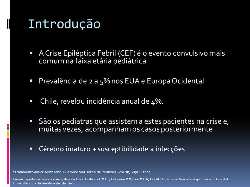 Introdução A Crise Epiléptica Febril (CEF) é o evento convulsivo mais comum na faixa etária pediátrica.