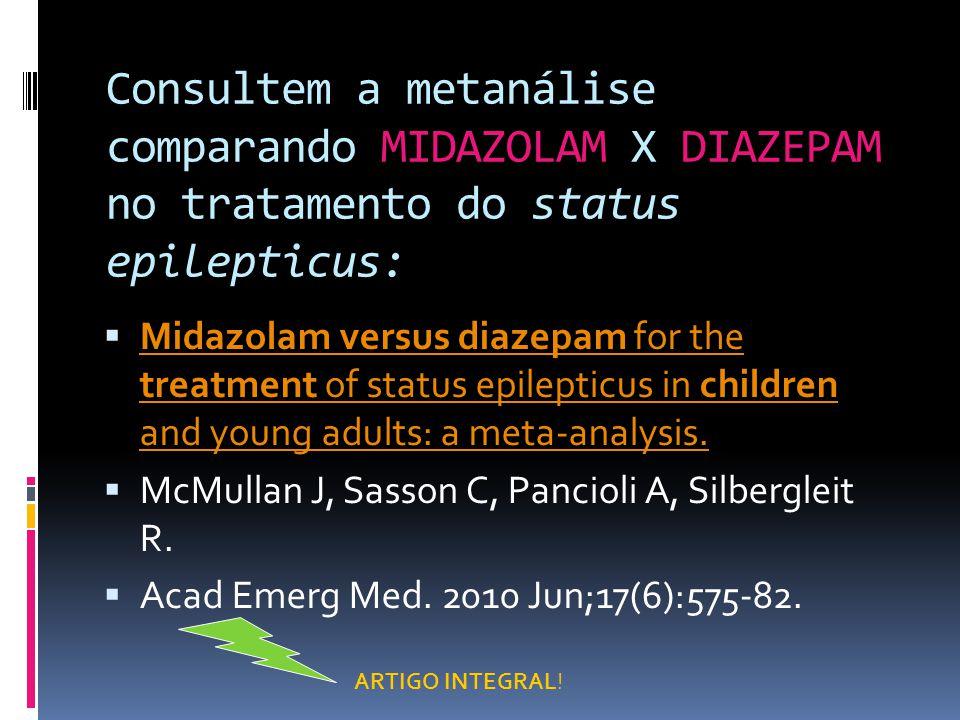 Consultem a metanálise comparando MIDAZOLAM X DIAZEPAM no tratamento do status epilepticus: