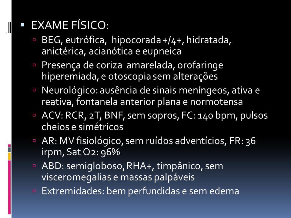 EXAME FÍSICO: BEG, eutrófica, hipocorada +/4+, hidratada, anictérica, acianótica e eupneica.