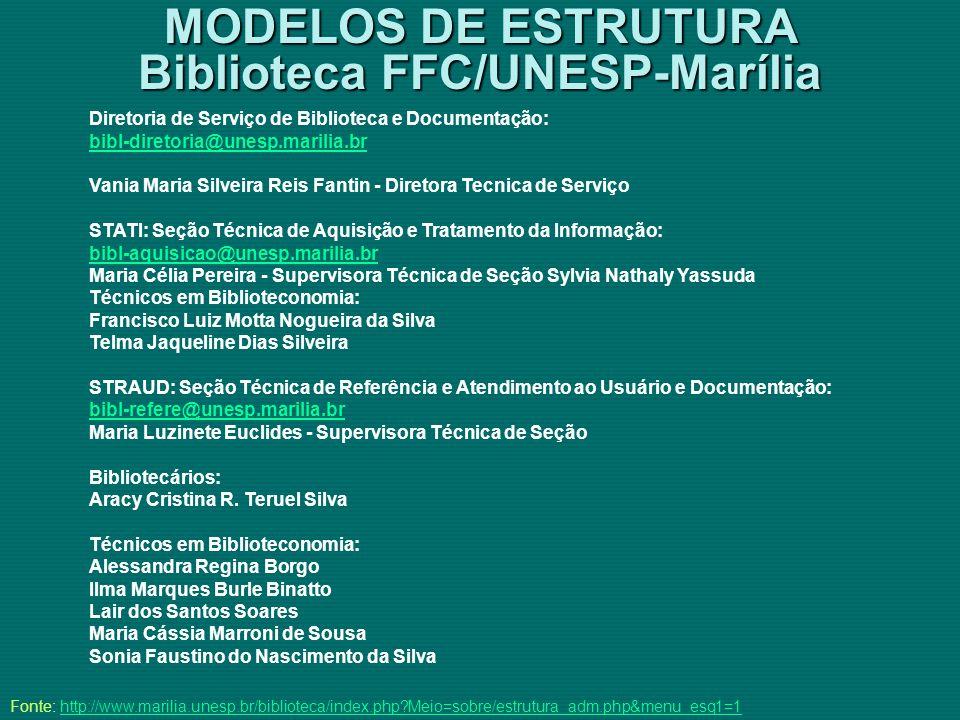 MODELOS DE ESTRUTURA Biblioteca FFC/UNESP-Marília