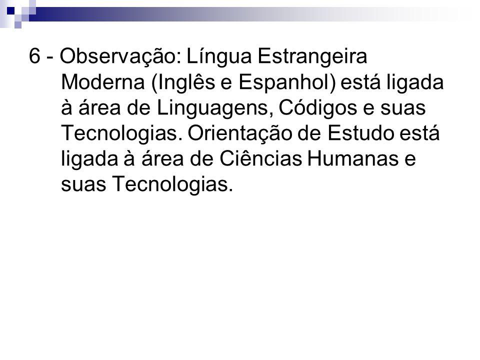 6 - Observação: Língua Estrangeira Moderna (Inglês e Espanhol) está ligada à área de Linguagens, Códigos e suas Tecnologias.