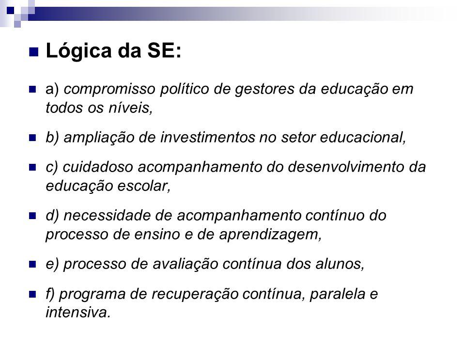 Lógica da SE: a) compromisso político de gestores da educação em todos os níveis, b) ampliação de investimentos no setor educacional,