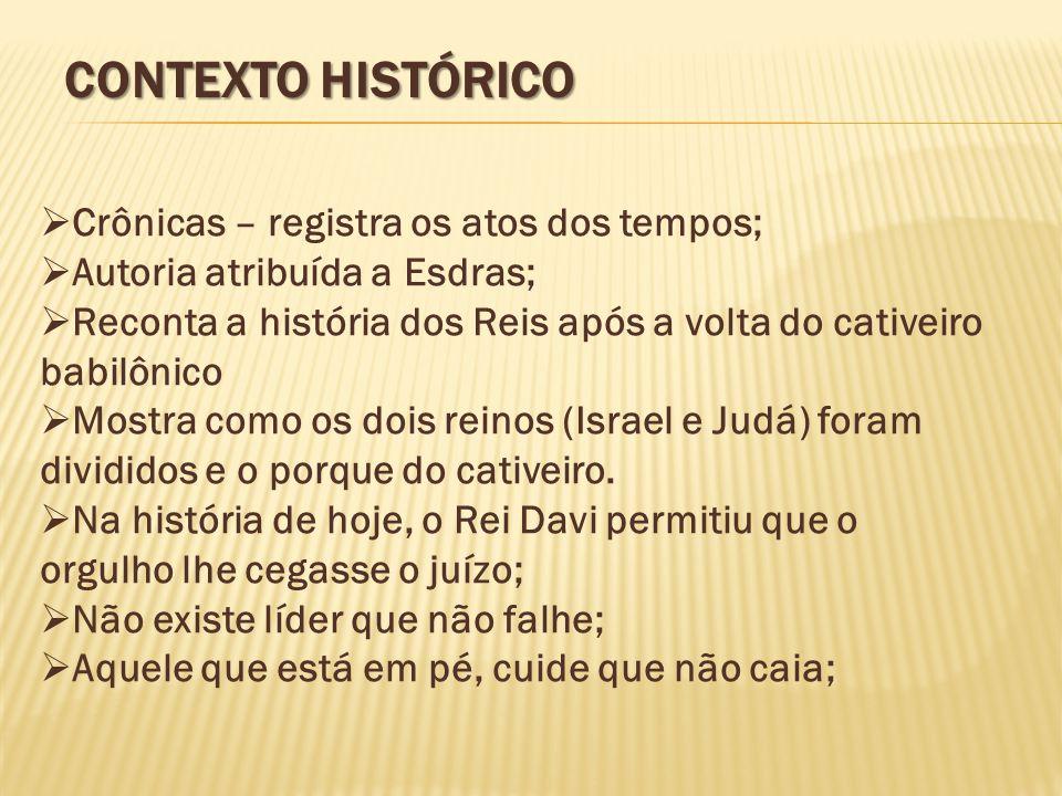 Contexto Histórico Crônicas – registra os atos dos tempos;