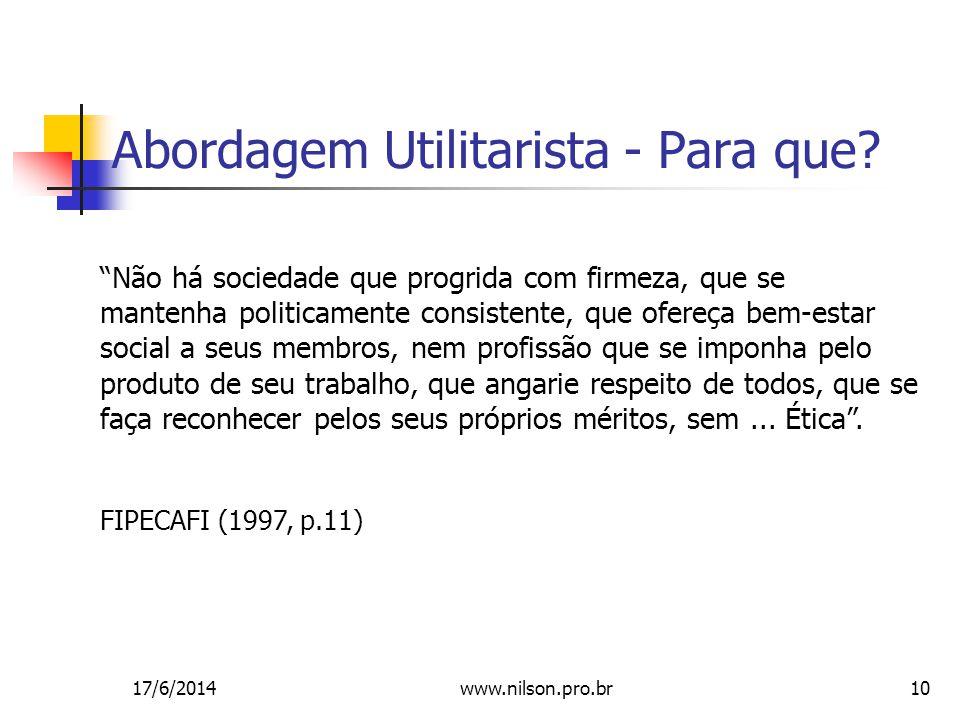 Abordagem Utilitarista - Para que
