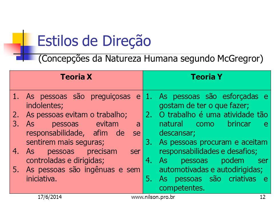 Estilos de Direção (Concepções da Natureza Humana segundo McGregror)