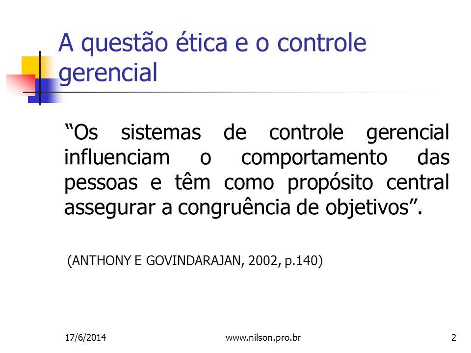 A questão ética e o controle gerencial