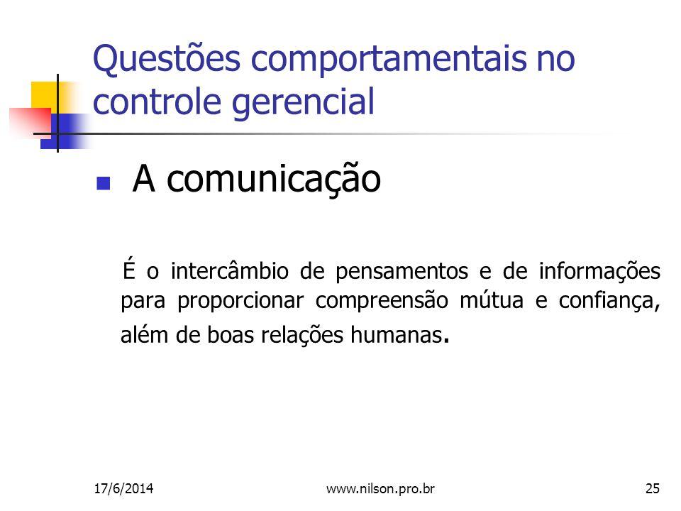 Questões comportamentais no controle gerencial