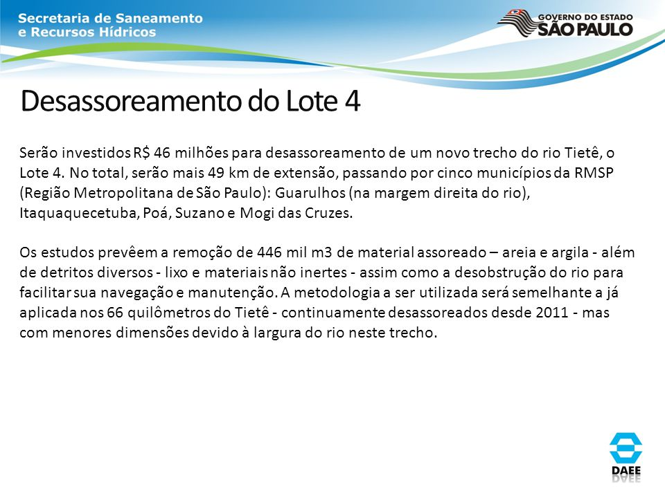 Desassoreamento do Lote 4