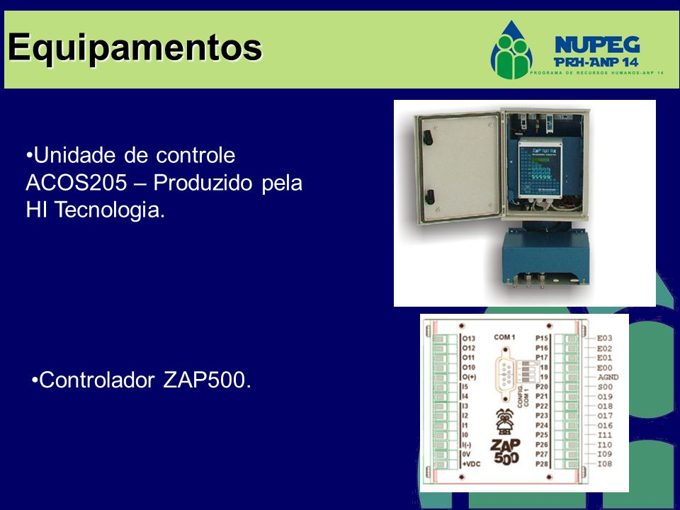 Equipamentos Unidade de controle ACOS205 – Produzido pela HI Tecnologia. Controlador ZAP500.