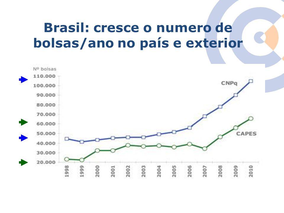 Brasil: cresce o numero de bolsas/ano no país e exterior
