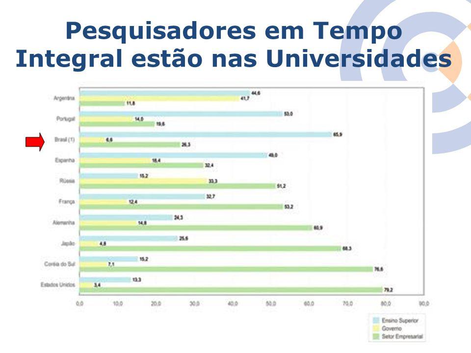 Pesquisadores em Tempo Integral estão nas Universidades