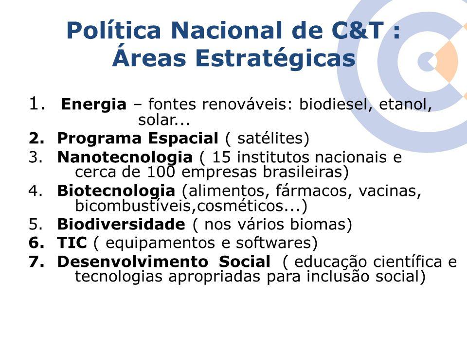Política Nacional de C&T : Áreas Estratégicas