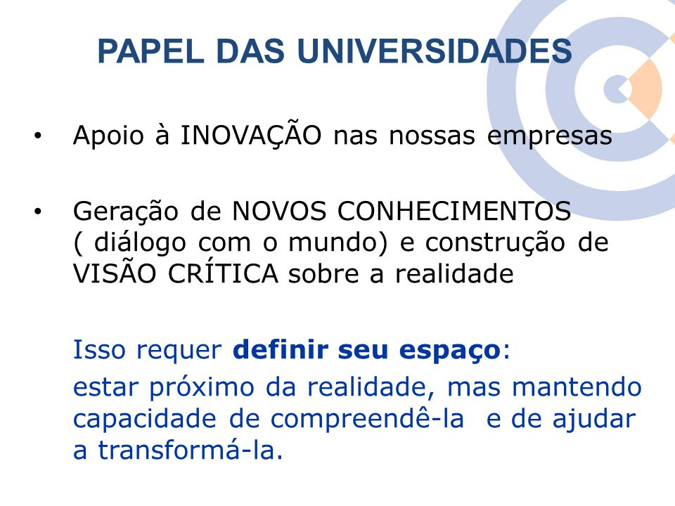 PAPEL DAS UNIVERSIDADES