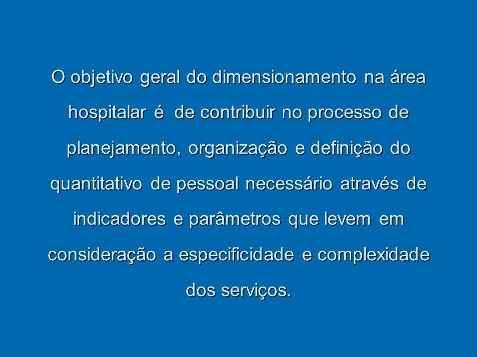 O objetivo geral do dimensionamento na área hospitalar é de contribuir no processo de planejamento, organização e definição do quantitativo de pessoal necessário através de indicadores e parâmetros que levem em consideração a especificidade e complexidade dos serviços.