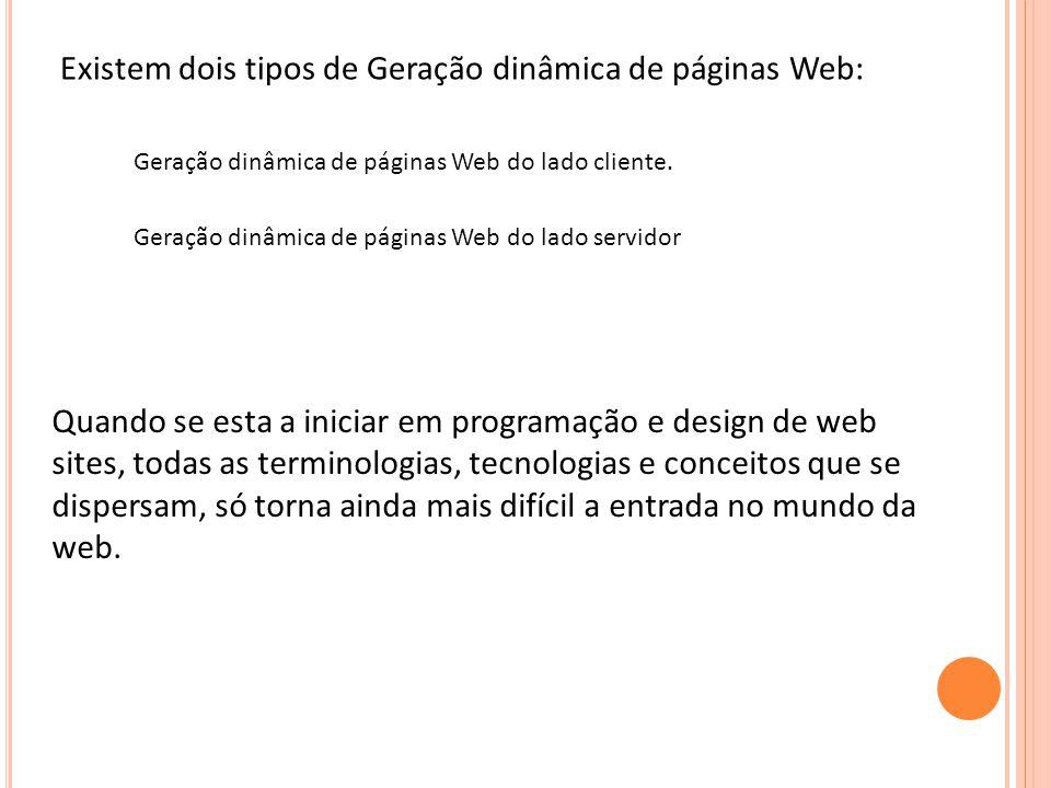 Existem dois tipos de Geração dinâmica de páginas Web: