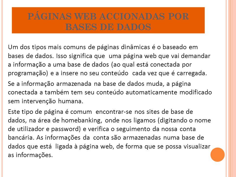 PÁGINAS WEB ACCIONADAS POR BASES DE DADOS