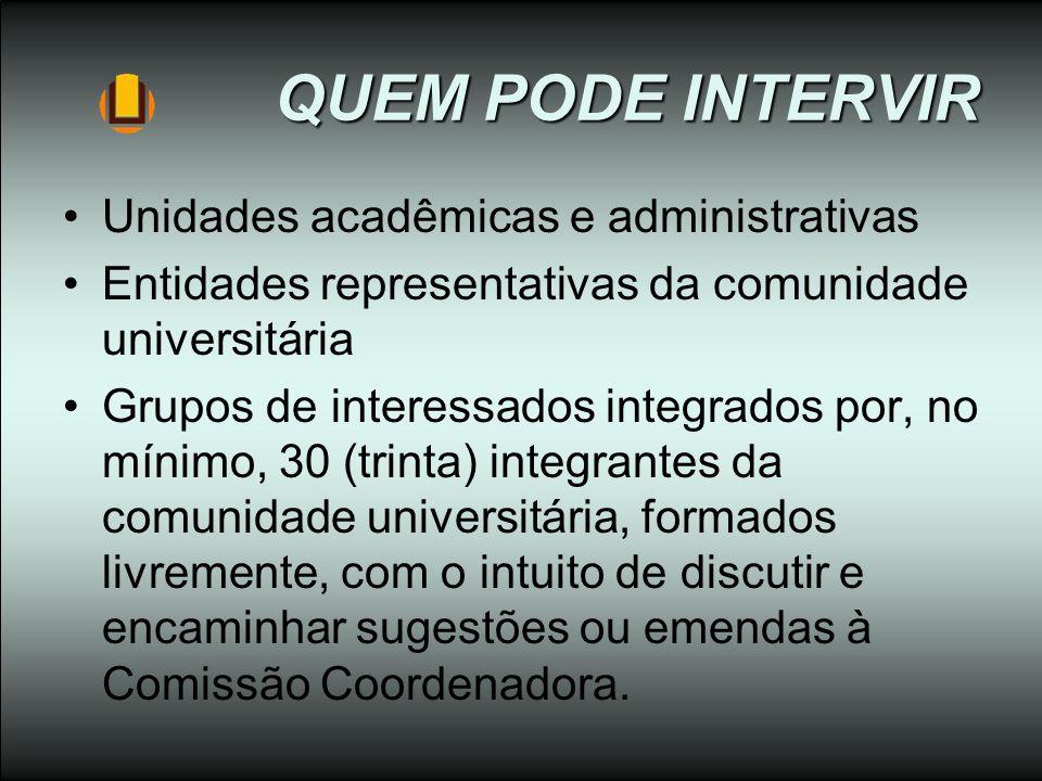 QUEM PODE INTERVIR Unidades acadêmicas e administrativas