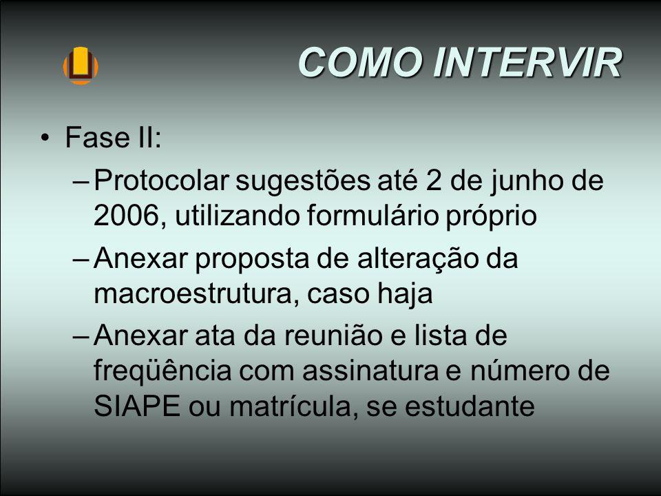 COMO INTERVIR Fase II: Protocolar sugestões até 2 de junho de 2006, utilizando formulário próprio.