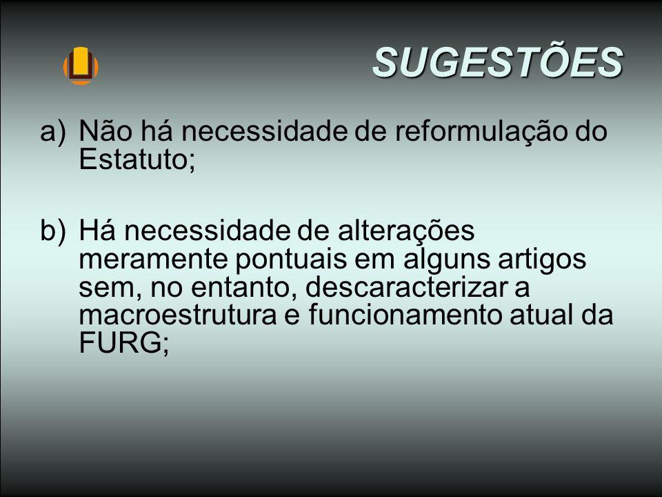 SUGESTÕES Não há necessidade de reformulação do Estatuto;
