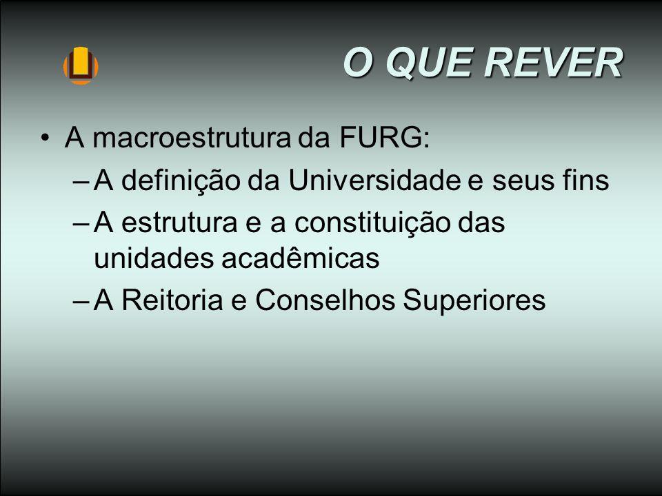 O QUE REVER A macroestrutura da FURG: