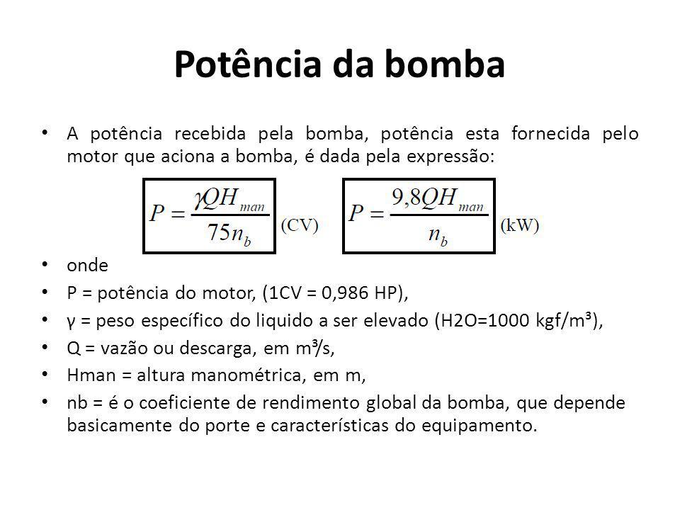 Potência da bomba A potência recebida pela bomba, potência esta fornecida pelo motor que aciona a bomba, é dada pela expressão: