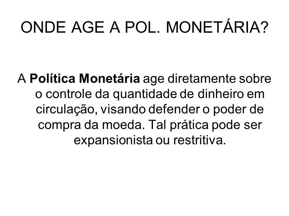 ONDE AGE A POL. MONETÁRIA