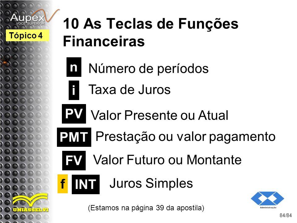 10 As Teclas de Funções Financeiras