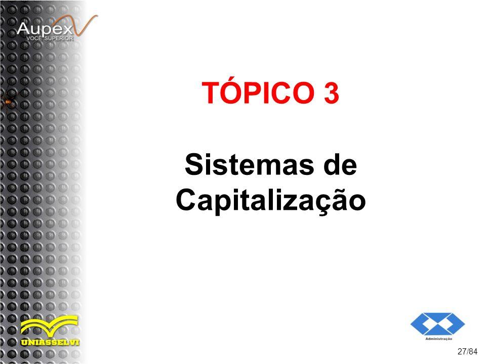 TÓPICO 3 Sistemas de Capitalização