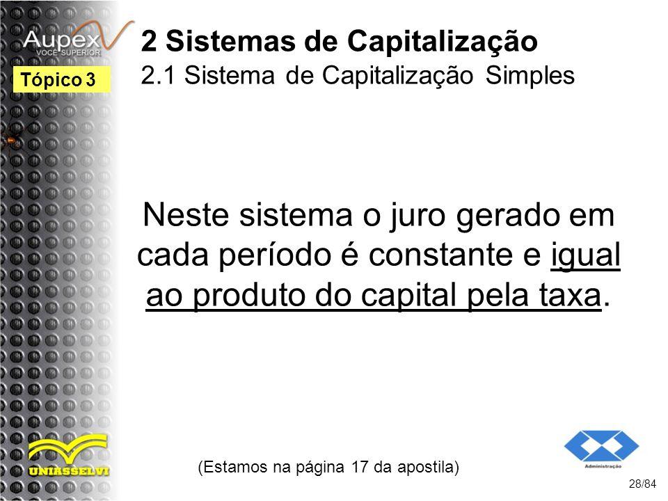 2 Sistemas de Capitalização 2.1 Sistema de Capitalização Simples