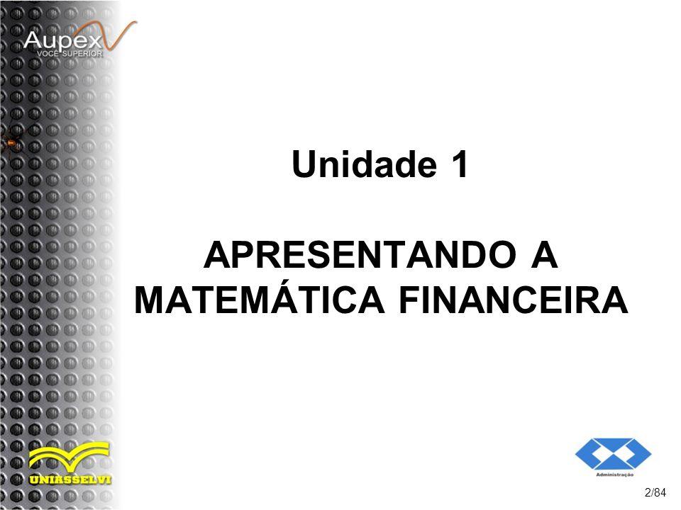 Unidade 1 APRESENTANDO A MATEMÁTICA FINANCEIRA