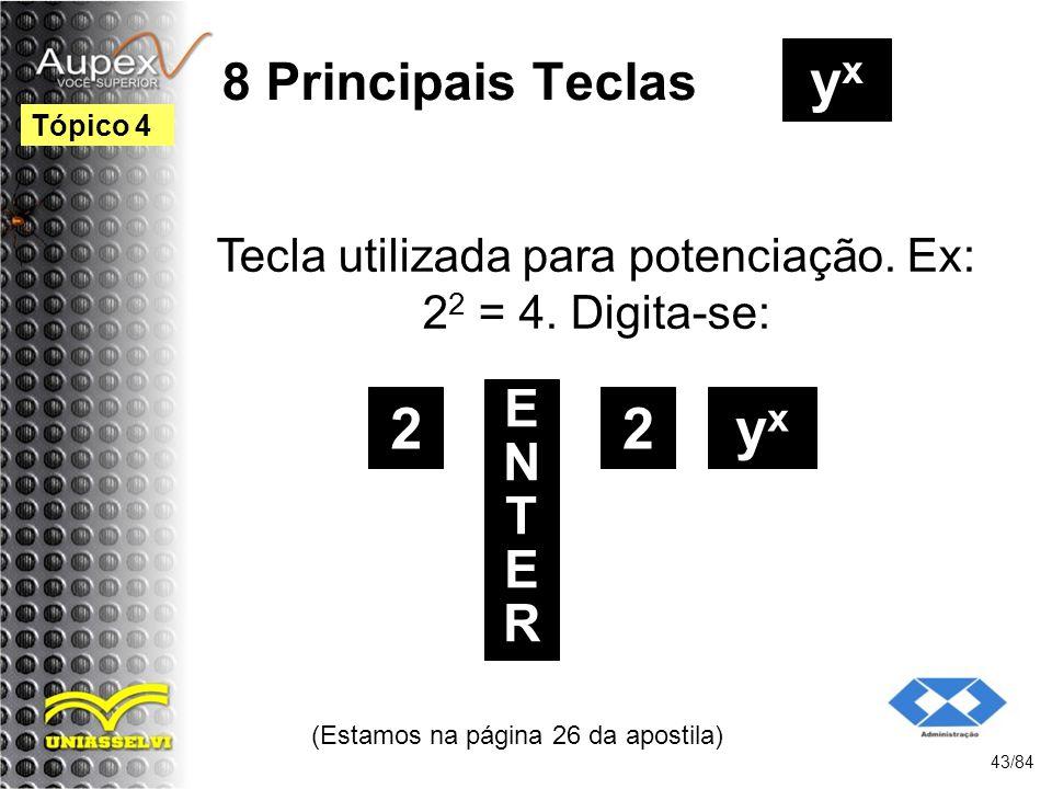 yx 2 2 yx 8 Principais Teclas ENTER
