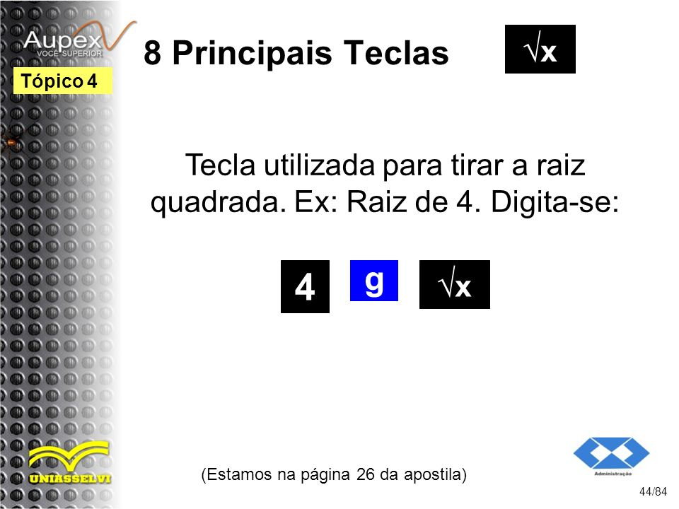 4 8 Principais Teclas √x g √x