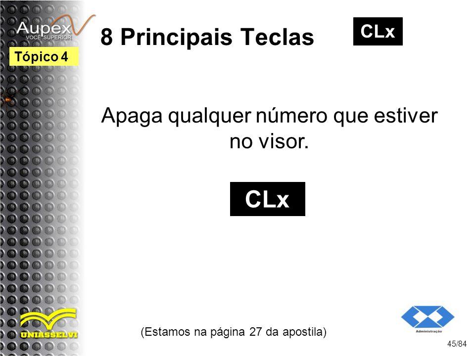 8 Principais Teclas CLx Apaga qualquer número que estiver no visor.