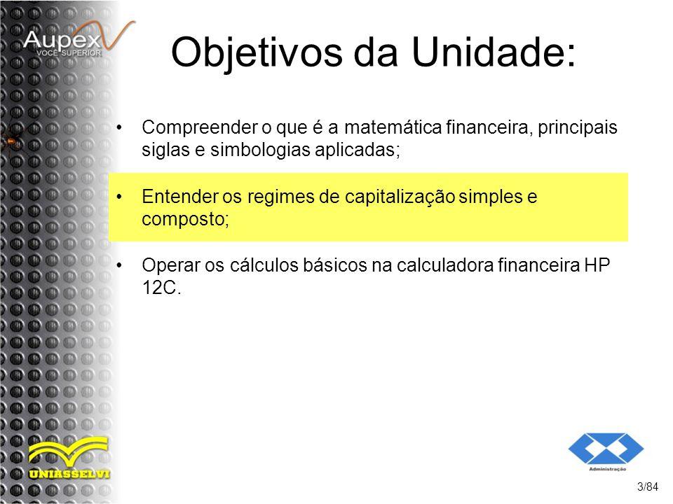 Objetivos da Unidade: Compreender o que é a matemática financeira, principais siglas e simbologias aplicadas;