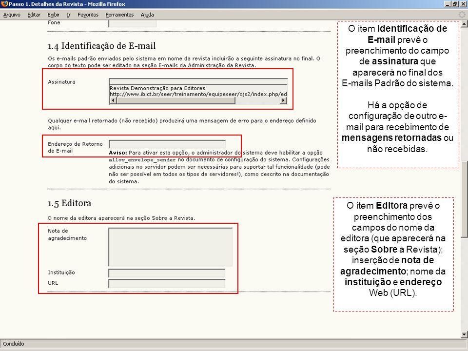 E-mails Padrão do sistema.