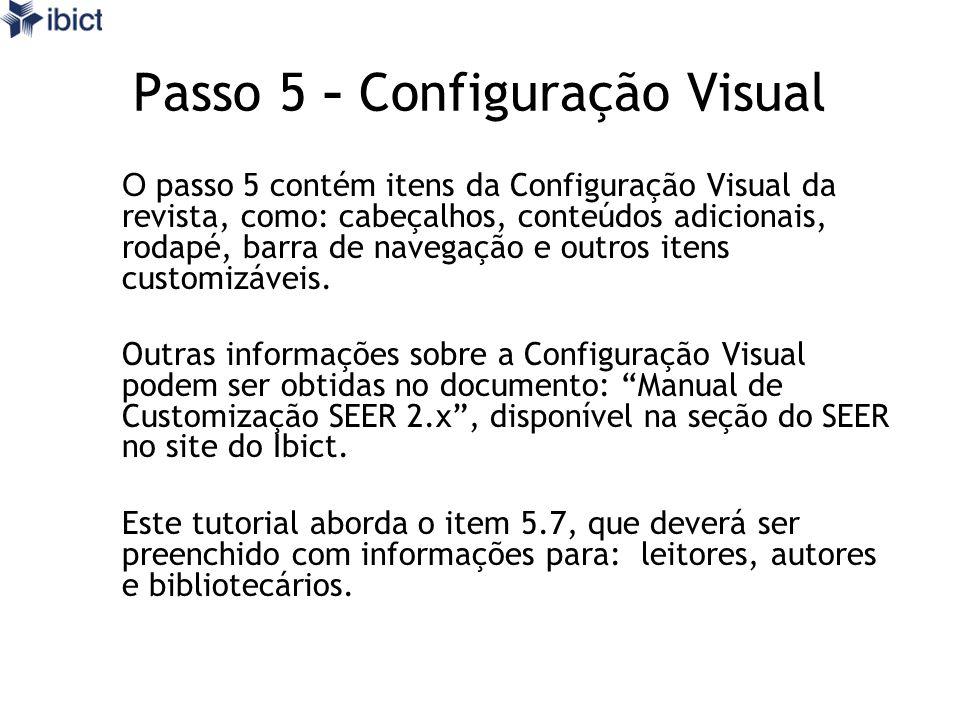 Passo 5 - Configuração Visual
