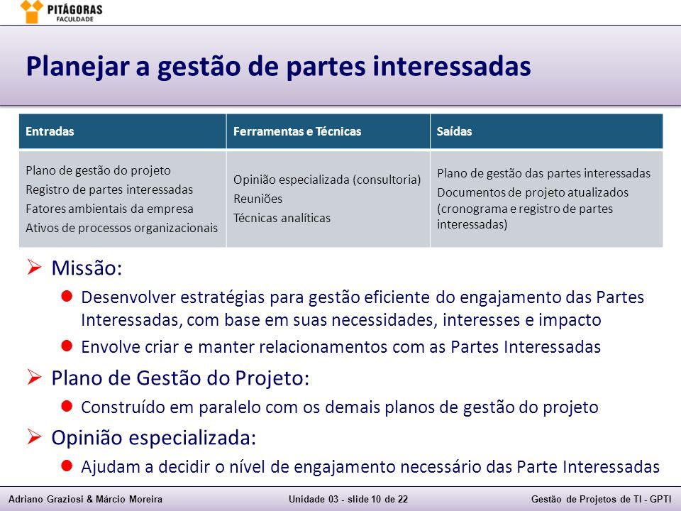 Planejar a gestão de partes interessadas