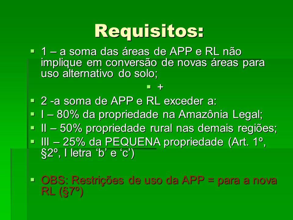 Requisitos: 1 – a soma das áreas de APP e RL não implique em conversão de novas áreas para uso alternativo do solo;