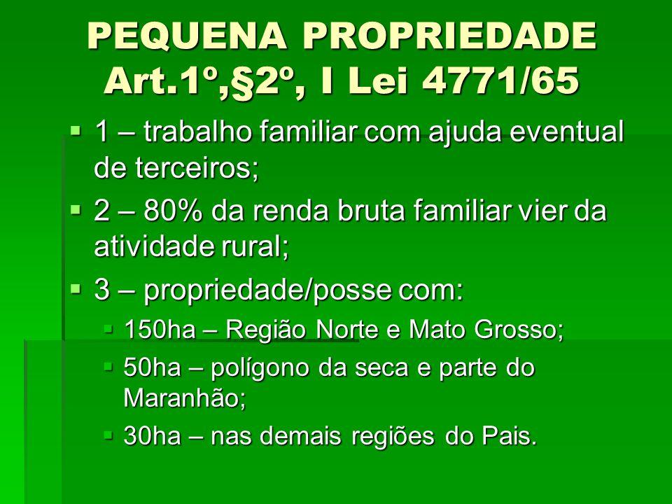PEQUENA PROPRIEDADE Art.1º,§2º, I Lei 4771/65