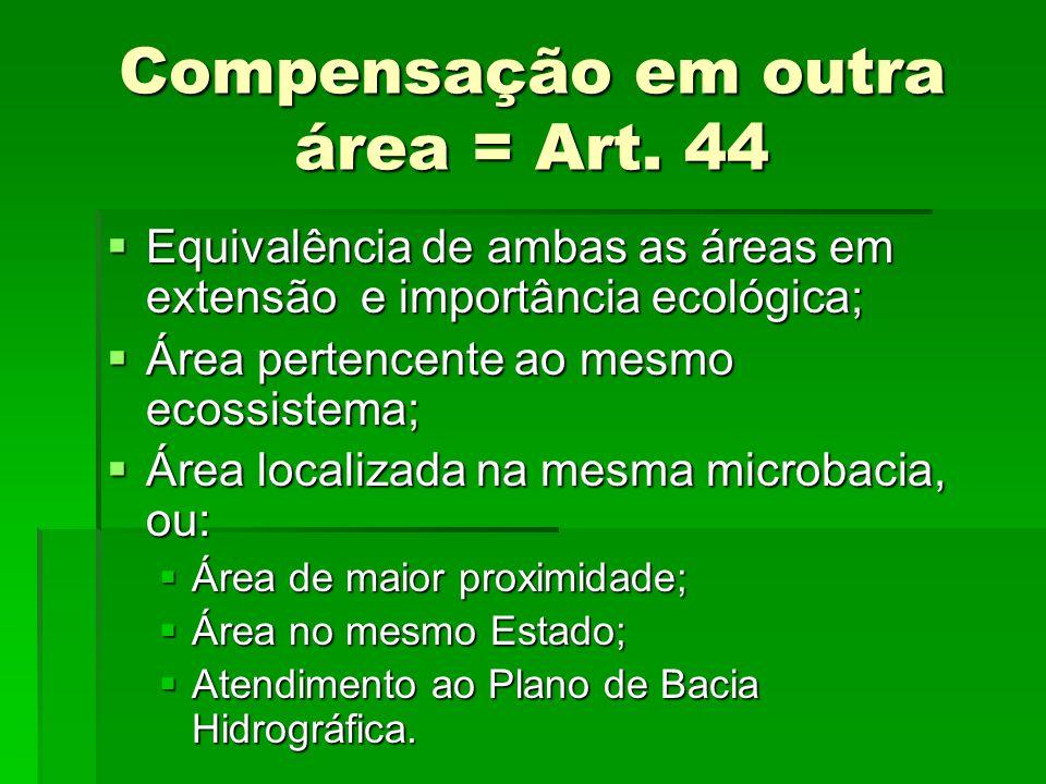 Compensação em outra área = Art. 44