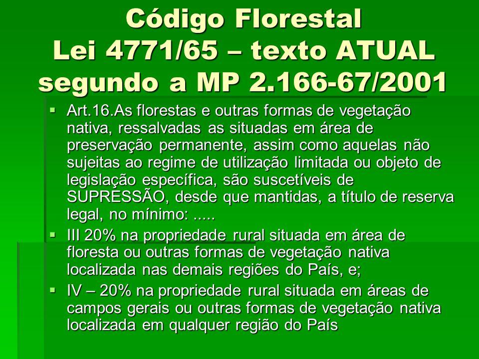 Código Florestal Lei 4771/65 – texto ATUAL segundo a MP 2.166-67/2001